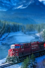 Train, railroad, track, river, trees, Canada