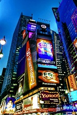 Travel to New York, Times Square, city, night, skyscrapers, lights