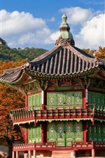 Preview iPhone wallpaper Travel to South Korea, pagoda, house, mountain, trees, park