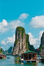Preview iPhone wallpaper Travel to Vietnam, Halong Bay, boats, mountains, clouds