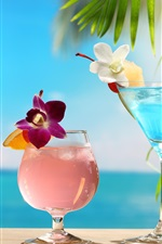 Preview iPhone wallpaper Tropical cocktails, different colors, glass cups, flowers