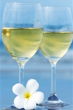 Two glass cups, white flower, sea, blurry