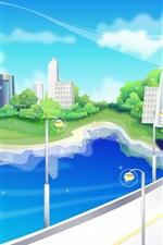 미리보기 iPhone 배경 화면 벡터 디자인, 도시, 교량, 도로, 주택, 갈매기