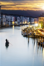 Preview iPhone wallpaper Venice, Italy, city, evening, buildings, illumination, river, boats