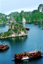 Preview iPhone wallpaper Vietnam, Halong Bay, boats, mountain, clouds