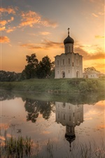 Vladimir, Russia, temple, morning, river, sunrise, clouds