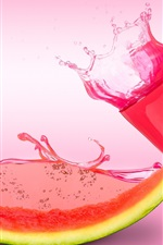 Preview iPhone wallpaper Watermelon juice, glass cup, pink style