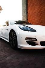 White Porsche supercar, villa