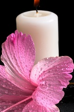 Preview iPhone wallpaper White candles, fire light, hibiscus flower, water drops
