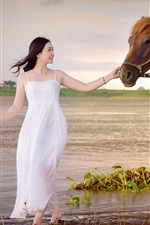 Preview iPhone wallpaper White dress Asian girl and horse