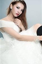 iPhone壁紙のプレビュー アジアの女の子がポーズ白いドレス