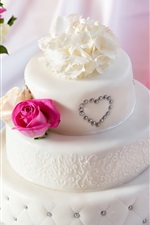 Preview iPhone wallpaper White style cake, bouquet rose flowers
