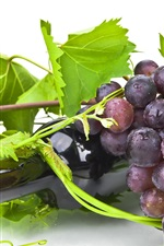 Preview iPhone wallpaper Wine, bottle, grapes, green leaves