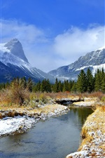 Preview iPhone wallpaper Winter, mountains, trees, river, grass, snow, blue sky