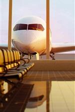 미리보기 iPhone 배경 화면 비행기, 공항, 대기실, 벤치, 미국