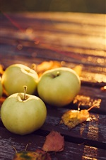 Preview iPhone wallpaper Apples, yellow leaves, wood table, sunshine