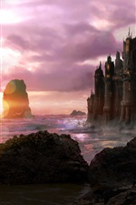 Preview iPhone wallpaper Art design, coast, sea, castle, stones, clouds, sunset