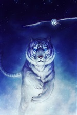 Preview iPhone wallpaper Art drawing, white tiger running, owl flying, snow