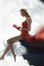 Preview iPhone wallpaper Art photography, red dress blonde girl reading book under the moon