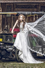 Preview iPhone wallpaper Asian girl, bride, wagon, horse