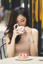 Preview iPhone wallpaper Asian girl drink coffee, cafe, table
