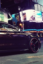 Audi A7 black car at city night