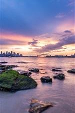 미리보기 iPhone 배경 화면 호주 수도, 시드니, 도시, 새벽, 해안, 일출, 구름