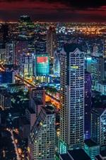Preview iPhone wallpaper Bangkok city at night, skyscrapers, lights, Thailand