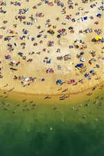 Preview iPhone wallpaper Beach top view, sea, coast, sands, people