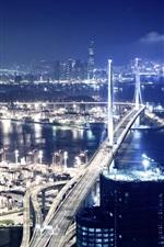 Preview iPhone wallpaper Beautiful Hong Kong city night, skyscrapers, bridge, pier, lights, illumination