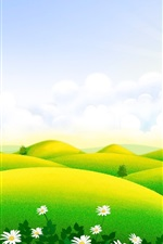 Preview iPhone wallpaper Beautiful art scenery, green hills, house, wildflowers, clouds, spring