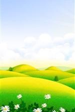 미리보기 iPhone 배경 화면 아름다운 풍경, 푸른 언덕, 집, 야생화, 구름, 봄