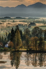 iPhone обои Прекрасное утро, деревья, река, горы, туман, Германия, Бавария, Бавария