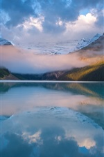 Preview iPhone wallpaper Beautiful nature landscape, lake, mountains, clouds, dawn, fog