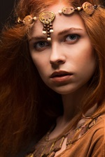 Beautiful red hair girl, middle ages style