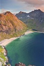 Preview iPhone wallpaper Beautiful sea, coast, beach, mountains, clouds, Norway nature landscape
