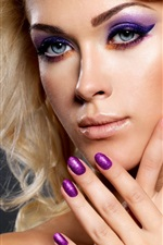 Preview iPhone wallpaper Blonde girl, makeup, hands, nail polish