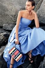Blue dress girl, stones