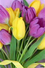 Preview iPhone wallpaper Bouquet flowers, yellow and purple tulips