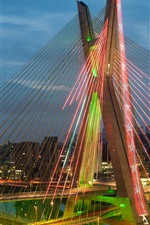 Preview iPhone wallpaper Brazil, Sao Paulo, bridge, road, lights, night, illumination