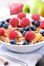 Preview iPhone wallpaper Breakfast, muesli, blueberries, raspberry, strawberries, apple, orange, kiwi, milk