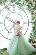 Preview iPhone wallpaper Bride, big clock, flowers, art photography