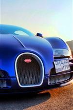 Bugatti Veyron blue supercar front view