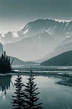 Preview iPhone wallpaper Canada Banff National Park, Albert, trees, mountains, lake, dawn