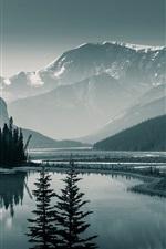 Preview iPhone wallpaper Canada Banff National Park, Albert, trees, mountains, lake, dawn
