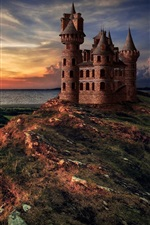 Preview iPhone wallpaper Castle, sea, sunset, mountain top, clouds