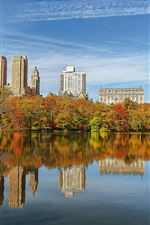 Preview iPhone wallpaper Central Park, New York, USA, trees, skyscrapers, lake, water reflection, autumn