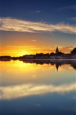 Preview iPhone wallpaper Chichester Harbour, West Sussex, England, houses, water reflection, sunset