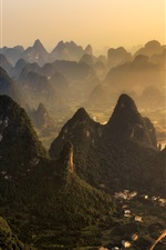 Preview iPhone wallpaper China, mountains, village, fog, morning, Guilin natural landscape