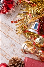 Preview iPhone wallpaper Christmas bells and balls, decoration, wood board